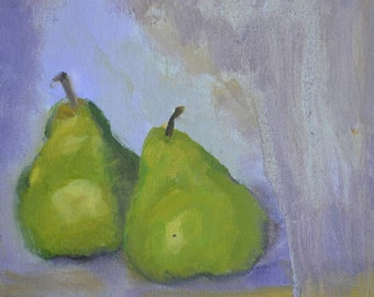 SALE, still life with pears, original oil, 11x14, unframed