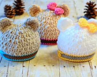 CROCHET PATTERN - Modern Bear Beanie - crochet bear hat pattern, crochet hat pattern (Infant - Adult sizes) - Instant PDF Download