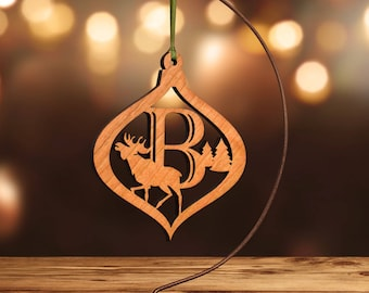 Moose Ornament with Letter B, Laser Cut Hardwood