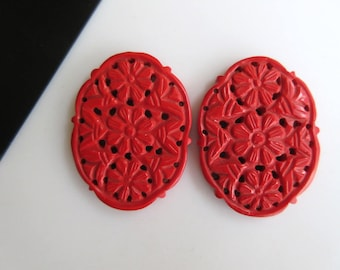 2 Pieces Matched Pair Oval Shaped Coral Jewelry Carvings, Hand Carved Filigree Findings, Gemstone Carving, 38x39x4mm, GDS854