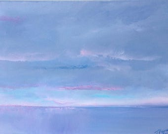 """Seascape Painting - Breaking Through, 16""""x12"""", an atmospheric seascape painting by Jo Payne"""