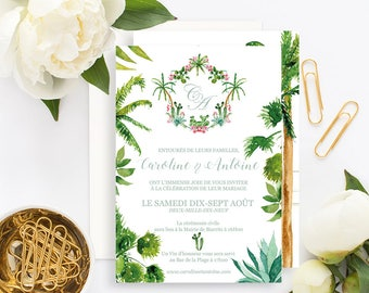 Palm Springs Wedding invitation with white envelope - Wedding invitation - Desert Cactus Wedding - Palm Springs Invitation - Palm Trees