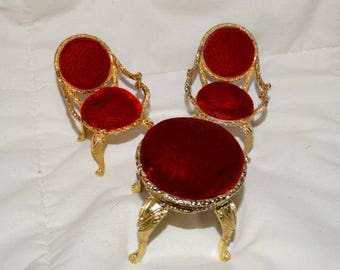 Vintage Red Velvet Chairs and Settee Gold, miniature doll furniture, doll house furnishings, Victorian Style, Parlor doll furniture