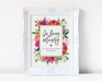 Printable In Loving Memory Sign | Wedding Memorial Table Sign, Watercolor, Instant Download