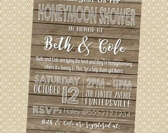 Printable Honeymoon Shower Party Invitations, 5x7, Typography, Barnwood Wood
