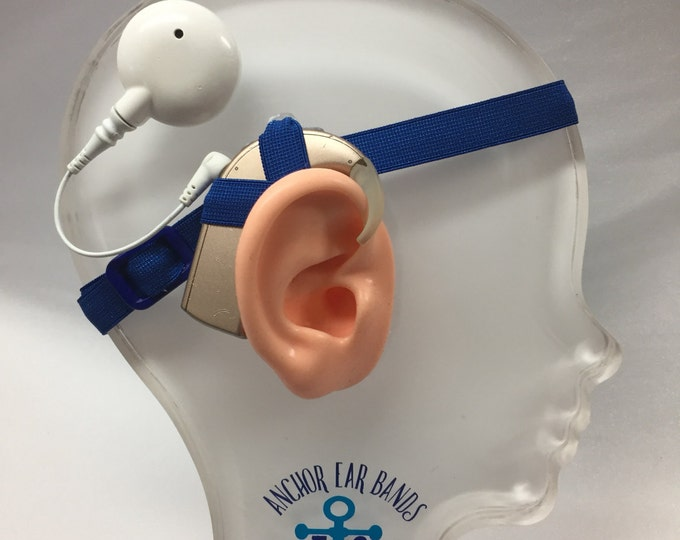Dark Blue - Cochlear Implant Heaband - Adjustable Length - Silicone Grip Sleeve - Non Slip Grip  - Unilateral, Bilateral, Bimodal option