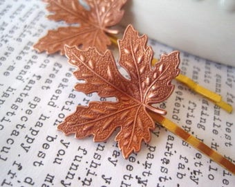 Rose Gold Maple Leaf Hair Pin, Leaf Bobby Pin, Rustic, Woodland Hair Accessory, Fall Wedding, Nature, Maple Trees, Canada, Bridal Hairpin
