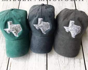 State Outline Cap with Monogram | Texas | ANY STATE |  Monogram Ball Cap | Monogram Cap | Monogram Hat | Monogrammed Cap