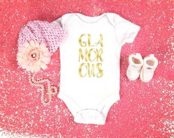 Glamorous baby onesie for baby girls, available in sizes newborn, 6 months, 12 months, 18 months funny graphic shirt