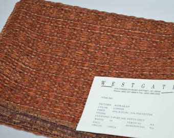 Westgate Copper, Brown and Gold woven chenille upholstery fabric, chenille fabric, fabric sample, fabric remnant, upholstery fabric