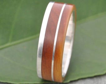 Un Lado Asi Wood Ring Guayacan Wood Ring - lignum vitae wood wedding band with recycled sterling silver, mens wood wedding ring, wooden ring
