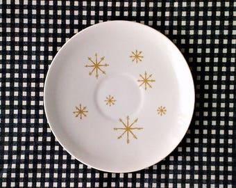 Set of 4 Royal China White & Gold Star Glow Print Saucers - Retro Vintage Atomic Mid Century Modern Starglow Burst Sun