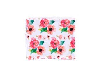 Floral Dreams Blanket, Minky Baby Blanket, Watercolor Floral Baby Blanket, Baby Blanket, Newborn Blanket, Pink Floral Blanket, Baby Quilt