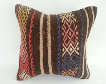 Antique Handmade Wool Kilim Cushion, 16x16 ınches, Living Room Decoration, Wool Cushion Cover, Turkish Kilim Pillow,Turkish Bedroom Pillow