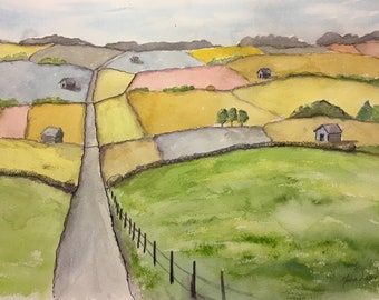 FIELDS and BARNS Watercolor paintinng. Wall decor. Landscape. Good feeling. For You.