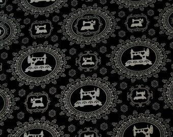 Thimble Pleasures by Dan Morris - Black Damask Sewing Machines - 1649-24161-J - 100% Cotton - Quilting/Apparel/Home Decor