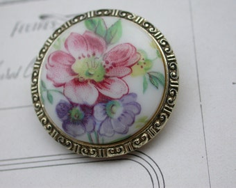 French vintage gold tone hand painted ceramic brooch scarf brooch pin flower floral round brooch