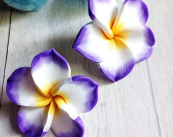SET OF 2 BEAD 38 MM POLYMER CLAY PURPLE FLOWERS