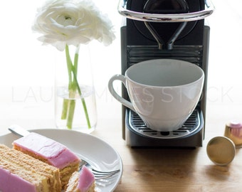 White Flowers, Coffeemaker, Pink Pastry / Styled Stock Photography / Product Background / Digital Image / Lifestyle Stock Image