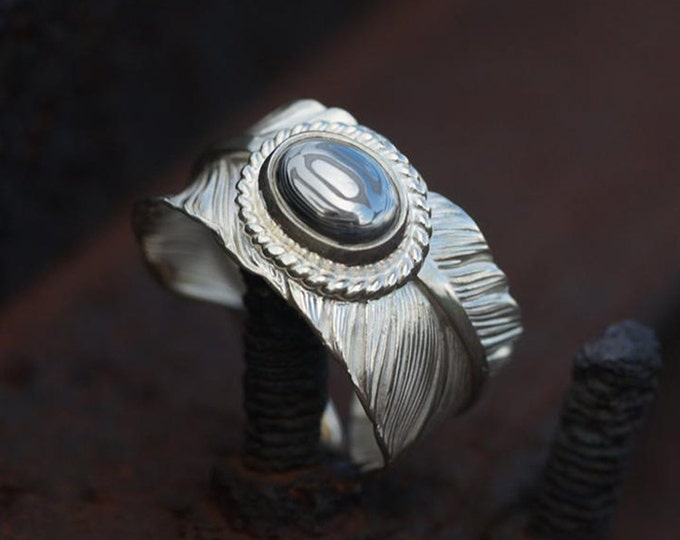 Silver Feather Ring | Feather Wrap Ring | Damascus Steel Ring | Ethnic Silver Ring | Silver Wrap Ring | Unisex Gemstone Ring | Bohemian Ring