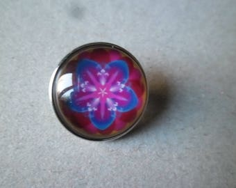 """x 1 snap round glass dome Silver """"for jewelry"""" flower 18 mm"""