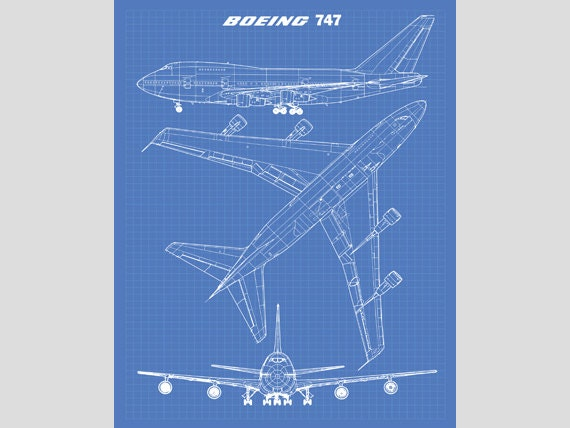 747 blueprint jumbo jet blueprint art instant download like this item malvernweather Gallery