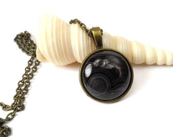 "Black Onyx Agate Round Necklace Pendant, Jewelry Gift For Her, 24"" Bronze Necklace"