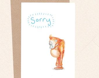 Funny Sorry Card, Apology Card, Baby Orangutan, Sad Card