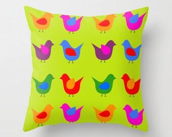 Scandinavian birds green pillow cover-Mid Century modern pillow-Floor pillow-Pop art-Designer decor-Cool Retro-Birds 16x16-18x18-20x20