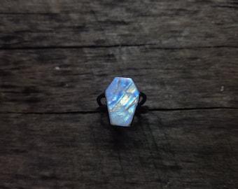 Electroformed Rainbow Moonstone Coffin Ring