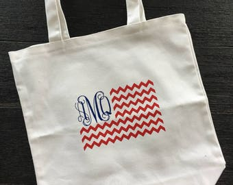 Monogrammed American Flag Tote Bag - Gift - Travel - Customizable