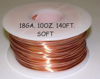 Copper Wire  18 ga  10 OZ. 140 Ft. Spool ( Soft ) Genuine Solid bright copper