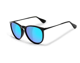 Sensolatino® Polarized Sunglasses Series Paris Shine Black Frame With Blue Mirrored Lenses