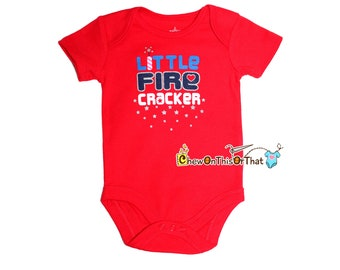 Little Fire Cracker Personalized Red Short Sleeve Baby First Independence Day Statement Onesie - Fourth of July Photo Prop Bodysuit, Shirt