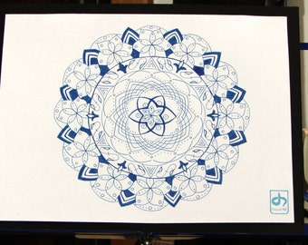 Echos Mandala - Original Ink Drawing On Paper 10x13 Mounted