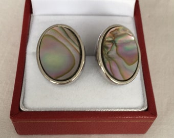 Vintage Whiting and Davis Signed Abalone Shell Sterling Silver Clip On Earrings Siler Tone