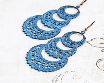 Blue Dangle Earrings, Large Filigree Hoop Earrings, Boho Chic Earrings, Hand Patina Jewelry