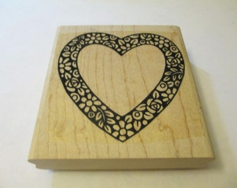 Large Heart Wooden Stamps Craft Supplies