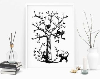 Poster -  Cats on the tree - illustration black and white