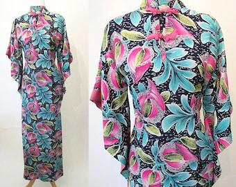 """Beautiful 1950's Hawaiian rayon floral print pake muu dress by """"Liberty House of Waikiki""""  tiki dress rockabilly pinup girl Size small"""