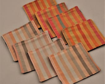 Free Shipping Eco 8 Silk Coasters Colorful Stripes Upcycled Recycled Fabrics Square