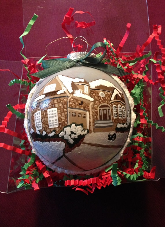 Custom Christmas ornaments hand painted of your house school