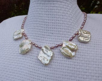 All Pure Nacre Chic Petal Pearl Bib Necklace White Rainbow Freshwater Sterling 925 Orbit Clasp Hand Knotted in USA Beachy Wedding Iridescent