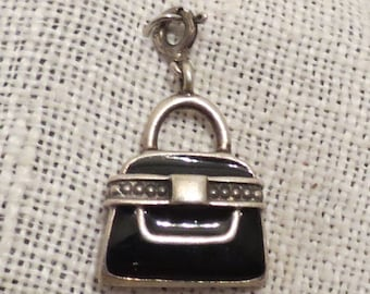 Black Handbag Purse Sterling Silver & Enamel Charm Pendant