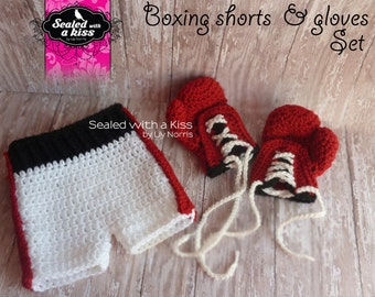 boxing outfit, Baby boxer set, newborn boxing gloves, newborn boxing set, boxing gloves for newborn, Crochet boxing set (FINISHED ITEMS)