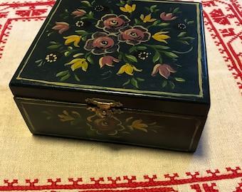 HANDPAINTED Vintage Dutch Box