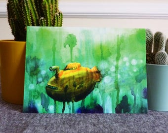 Submarine Illustrated Postcard