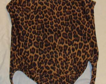 Ready to ship Gymnastics Leotard girls size 6-8a in brown cheetah design