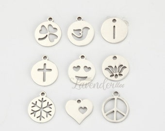 5pcs The clover cross peace symbol the lotus snowflake pendant 13mm, stainless steel material,DIY stainless steel fittings,A1419