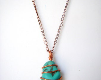 Turquoise Chunk Copper Wire Wrapped Pendant with Chain Necklace